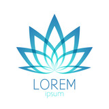 Beautiful turquoise lotus flower logo sign.