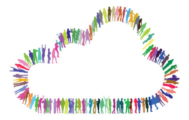 Vector Silhouettes making a cloud  shape