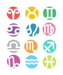 Set of horoscope zodiac signs - colorful flat style.