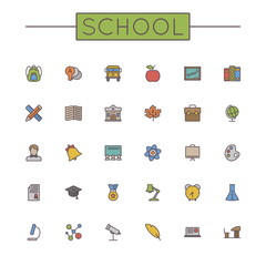Vector Colored School Line Icons
