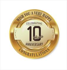 Anniversary golden label, 10 years