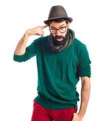 bohemian man making crazy gesture