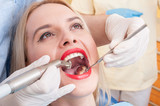 Dental drilling procedure on perfect teeth