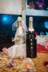 Two bottles of champagne decorated as a bride and groom standing