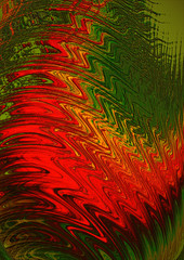 Red and black wavy strokes on the green background