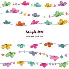 Summer time floral abstract greeting card vector