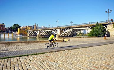 Hombre en bicicleta, Sevilla, España