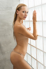 Blonde woman after shower
