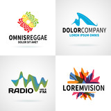 Set of modern colorful abstract logo emblem vector design