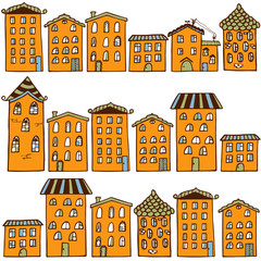 Cute seamless pattern with houses. Home sweet home