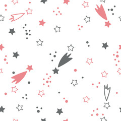 Cute seamless pattern with stars. Space background