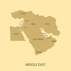 Middle East Map with country name