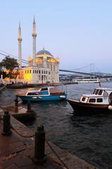 Ortakoy Mosque at night in Istanbul, Turkey.