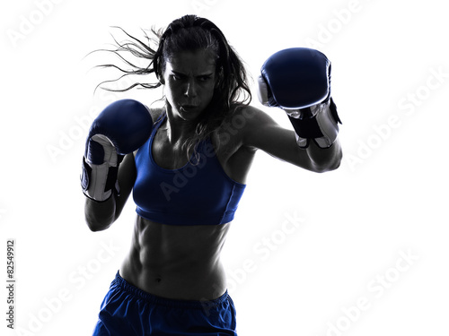 Poster woman boxer boxing kickboxing silhouette isolated