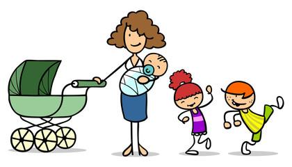 Alleinerziehende Mutter mit drei Kindern