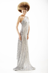 Vogue Style. Trendy Woman in Silver Silky Dress