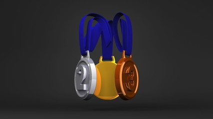 Rotating 3Medals On Black Background