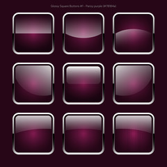 Glossy Square Buttons (Pansy Purple)
