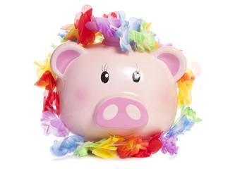 piggy bank wearing hawaiian garland