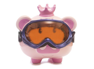 saving for a skiing holiday piggy bank