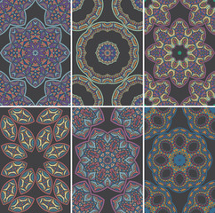 Set of seamless patterns in oriental style