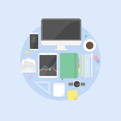 Flat design objects, productive office workplace