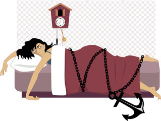 Tired woman chained to a bed with an anchor