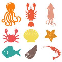 Seafood icons. Sea life