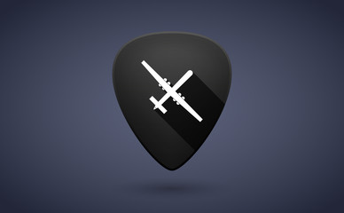 Black guitar pick icon with a war drone