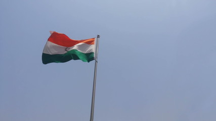 indian national flag waving in the wind,