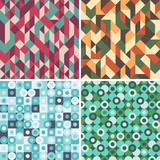Fototapety Set of colorful seamless patterns with circles and triangles.