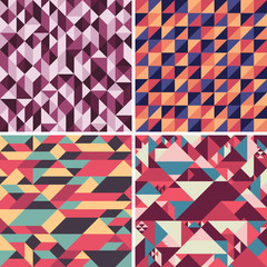 Set of colorful geometric seamless patterns with triangles.