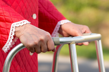 Senior woman using a walker