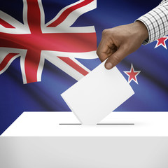 Ballot box with national flag on background series - New Zealand