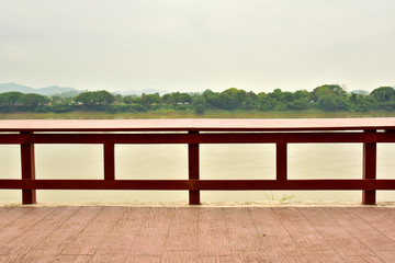 Railing situated along the Mae Khong River in the park