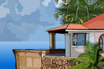 House in the tropics by the sea