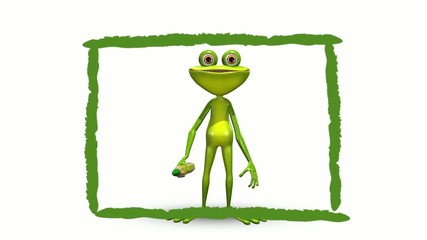Animation frog and green background