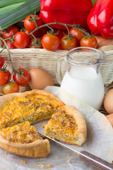 Onion pie, eggs and milk - a traditional village Breakfast