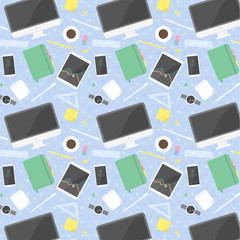 flat design office objects - seamless pattern