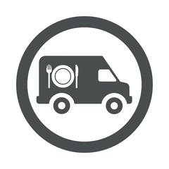 Icono redondo furgoneta catering gris