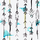 Ethnic arrows seamless pattern with watercolor brushstrokes