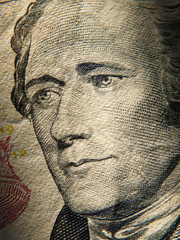 Alexander Hamiltons portrait is depicted on painted on the $ 10