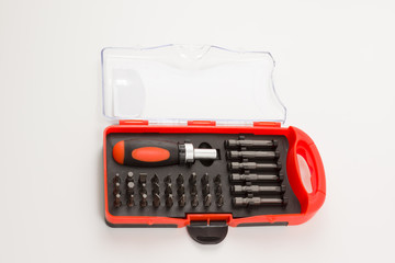 set of screw-drivers in a box