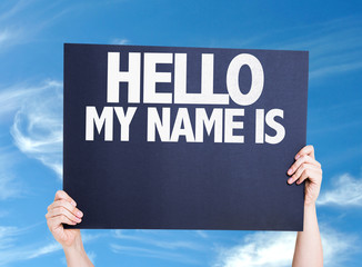 Hello My Name Is card with sky background