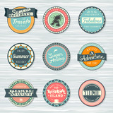 Summer holidays, travel, vacation adventure labels template set
