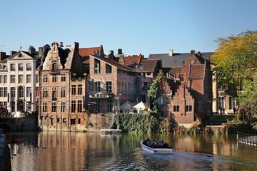 Riverside in Ghent. Flanders. Belgium