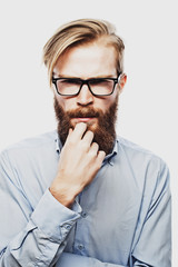 Young bearded hipster man