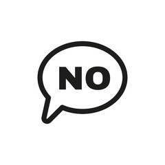 The NO speech bubble icon. No symbol. Flat