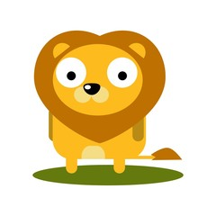 Cute Lion with large eyes cartoon