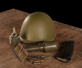 ammunition on the wooden table
